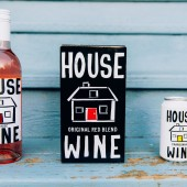 House Wine bottle, box and can shot