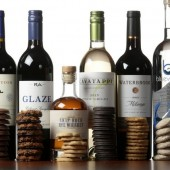 Selection of wine, whiskey, and vodka